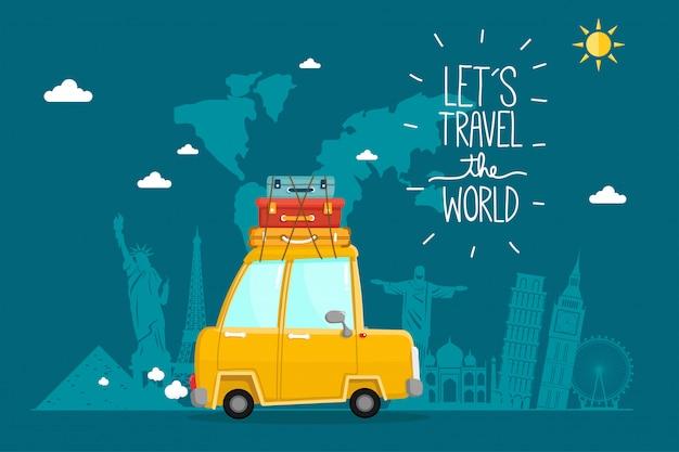 Viajar en automóvil. viajes mundiales. planificación de vacaciones de verano. tema de turismo y vacaciones.