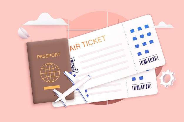 Viajar en avión planeando un turismo de vacaciones de verano concepto de boleto en línea