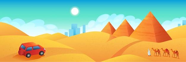 Viajar a la bandera de egipto. viaje en coche al cartel de dibujos animados de las pirámides de giza. tour a los antiguos templos del faraón, ilustración plana