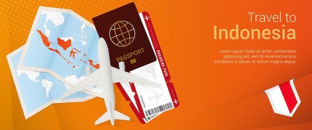 Viajar a la bandera emergente de indonesia. banner de viaje con pasaporte, boletos, avión, tarjeta de embarque, mapa y bandera de indonesia.