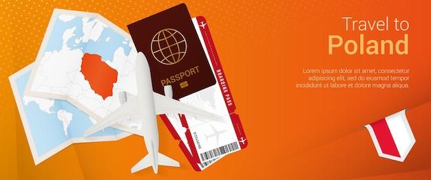 Viajar a la bandera pop-under de polonia. banner de viaje con pasaporte, boletos, avión, tarjeta de embarque, mapa y bandera de polonia.