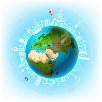 Viajar por el concepto de vector del mundo