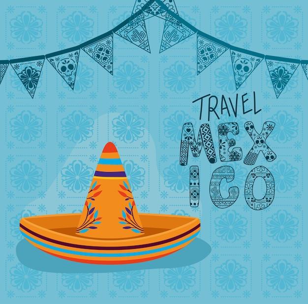 Viajar a la cultura mexicana con diseño de sombrero, tema de turismo mexicano