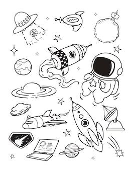 Viajar en el espacio doodle