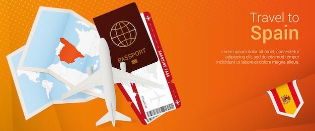 Viajar a españa banner pop-under. banner de viaje con pasaporte, billetes, avión, tarjeta de embarque, mapa y bandera de españa.
