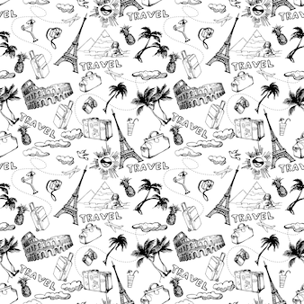 Viajar de fondo sin fisuras. patrón de vacaciones de verano dibujado a mano. ilustración vectorial