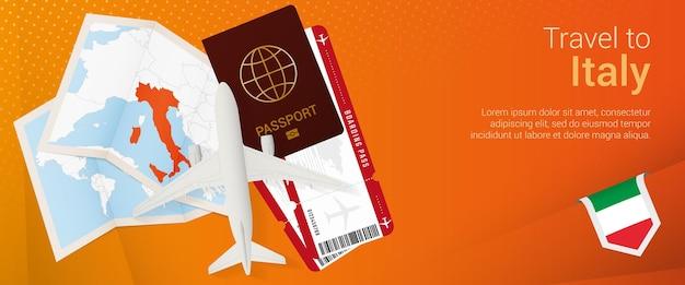 Viajar a italia banner popunder banner de viaje con pasaporte, pasaporte, mapa de embarque de avión y bandera de italia