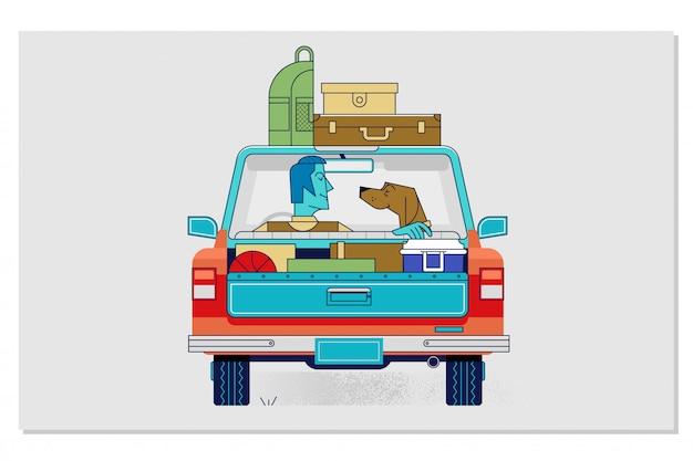 Viajar con mascotas en coche concepto ilustración vectorial plana