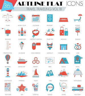 Viajar, viajar, viajar iconos de línea plana