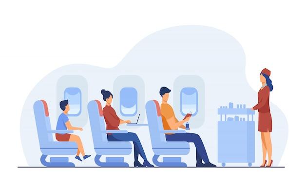 Viaje aéreo con comodidad ilustración plana