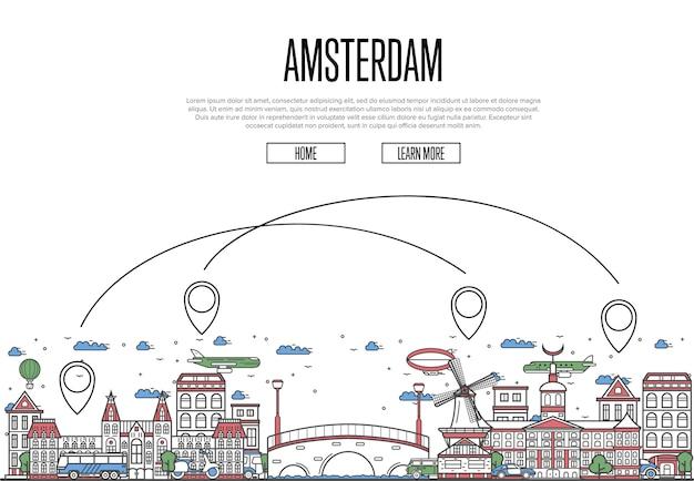 Viaje aéreo a la página web de amsterdam en estilo lineal