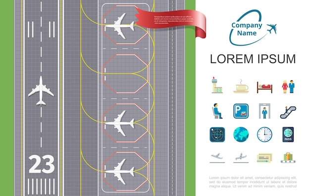 Viaje aéreo plano con aeropuerto de pista e ilustración de iconos temáticos