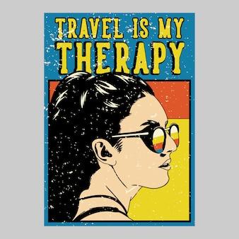 El viaje al aire libre del diseño del cartel es mi ilustración vintage de la terapia