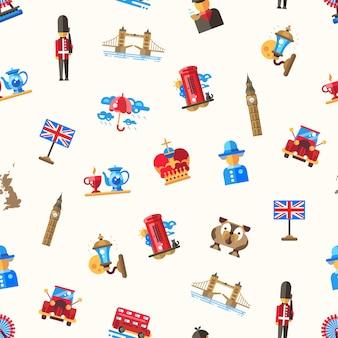 Viaje al patrón de gran bretaña con símbolos británicos famosos