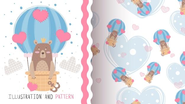 Viaje amor oso - patrón sin costuras