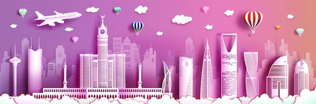 Viaje a arabia saudita con moderno edificio, horizonte, rascacielos.