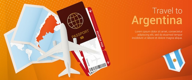 Viaje a argentina banner popunder banner de viaje con pasaporte boletos de avión tarjeta de embarque