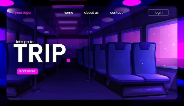 El viaje en autobús. la página de destino de un camino hacia las vacaciones.