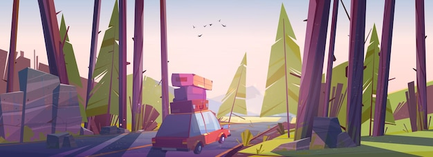 Viaje en automóvil viaje por carretera en vacaciones de verano viaje en automóvil con bolsas en el techo