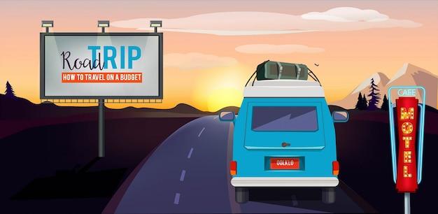 Viaje. aventura en la carretera en el fondo del paisaje urbano de vacaciones de verano de coche