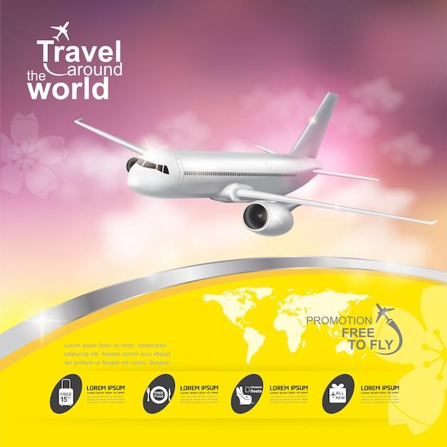 Viaje en avión alrededor del banner del mundo.