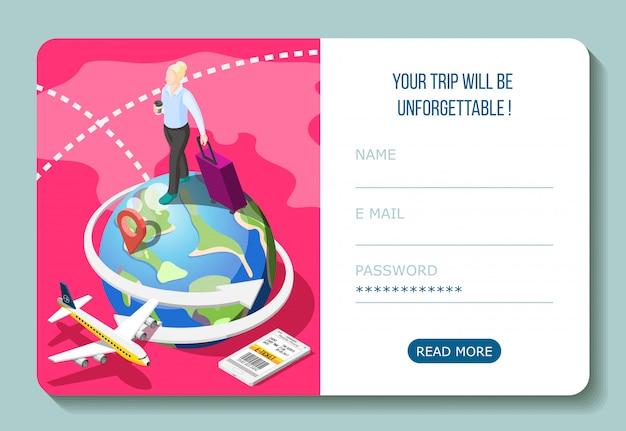 Viaje en avión con boleto electrónico en composición isométrica de teléfono inteligente con interfaz de cuenta de usuario