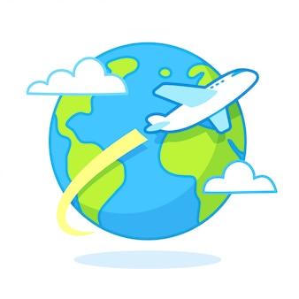 Viaje de avión de dibujos animados