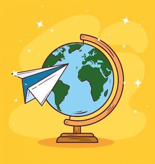 Viaje en avión de papel alrededor del mundo, diseño de ilustraciones vectoriales
