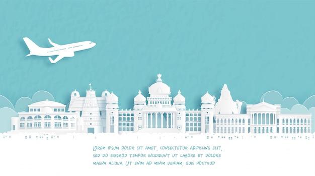 Viaje con bienvenido a bangalore, famoso monumento de la india en estilo de corte de papel.