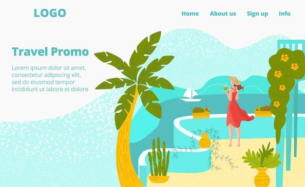 Viaje caliente para vacaciones en verano, mujer en el mar terraza del hotel con palmeras, ilustración de turismo.