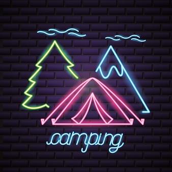 Viaje de campamento en estilo neón