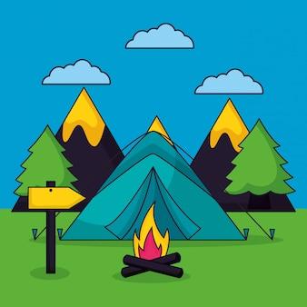 Viaje de campamento en estilo plano