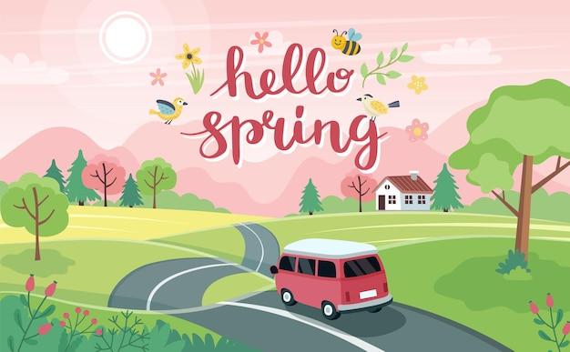 Viaje por carretera de primavera. paisaje con un lindo coche en la carretera y letras. en estilo plano