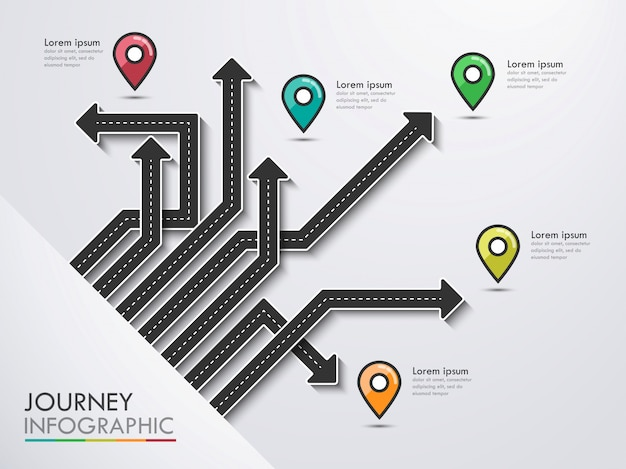 Viaje por carretera, ruta de viaje y camino hacia el éxito. infografía de negocios y viajes con puntero pin