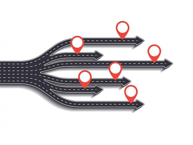 Viaje por carretera, ruta de viaje y camino hacia el éxito. negocios y viaje infografía con puntero pin. sinuosas carreteras sobre un fondo blanco.