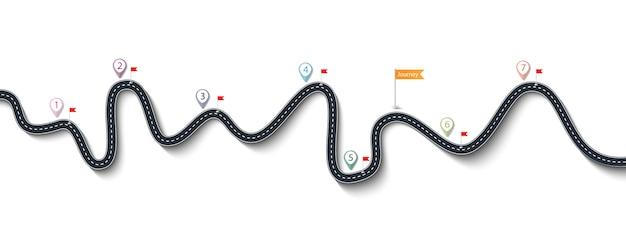Viaje por carretera y ruta de viaje.