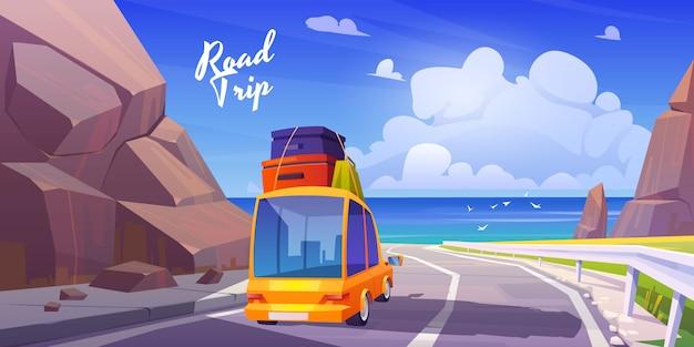 Viaje por carretera, vacaciones de verano, viaje de vacaciones en coche