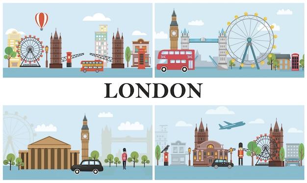 Viaje a la composición de londres con transporte de la guardia real británica, famosos monumentos y atracciones en estilo plano
