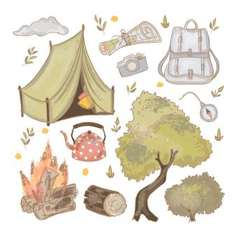 Viaje a descansar en la naturaleza dibujado a mano