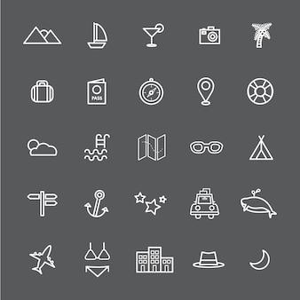 Viaje destino icono vectores ilustración concepto