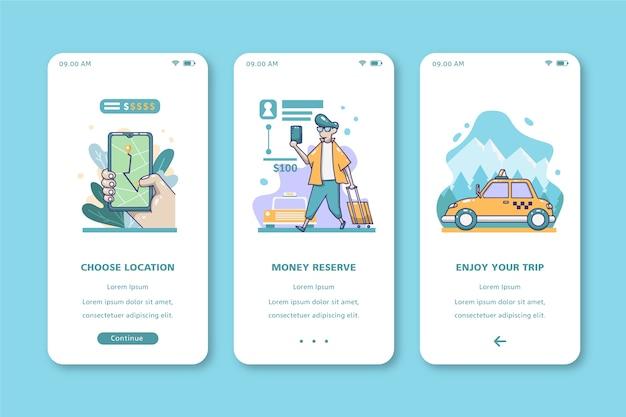 Viaje con diseño de interfaz móvil de taxi