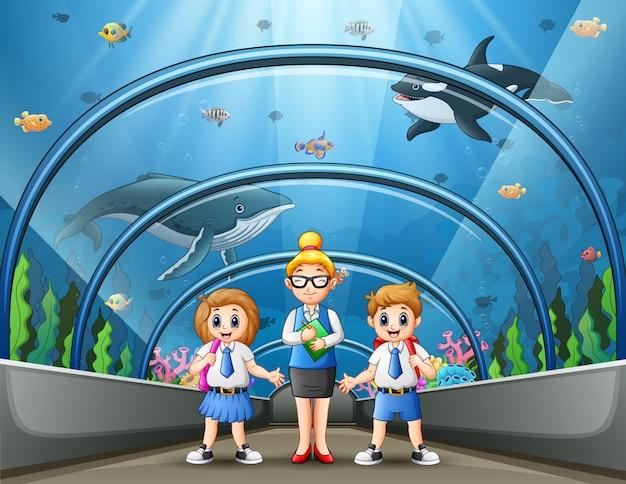 El viaje escolar a la ilustración del parque del acuario