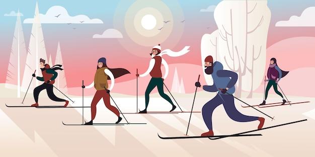 Un viaje de esquí al parque de la ciudad de invierno en un día helado. ilustración vectorial