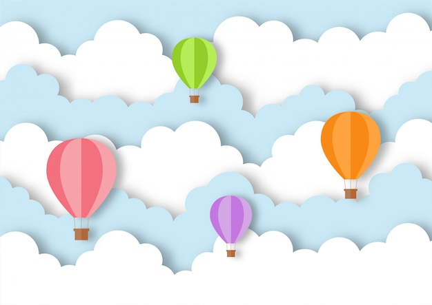 Viaje de estilo de arte de papel con fondo de vuelo de globo.