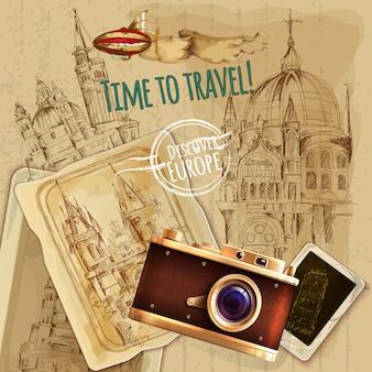 Viaje de europa con el cartel del vintage de la cámara