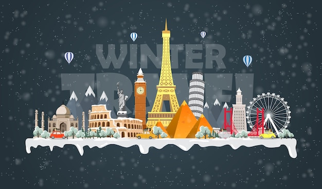 Viaje de invierno al mundo. gran conjunto de monumentos famosos del mundo.