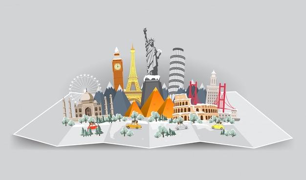 Viaje de invierno al mundo. vacaciones navideñas. viaje. gran conjunto de monumentos famosos del mundo.