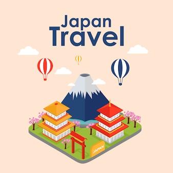 Viaje isométrico de japón, ilustración vectorial