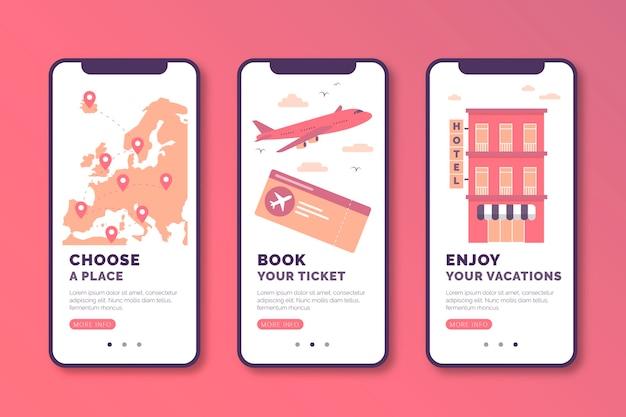 Viaje en línea colección de pantallas de aplicaciones de incorporación
