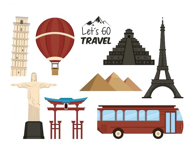 Viaje y lugares de turismo.